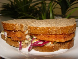 Schnitzel Sandwich on Light rye